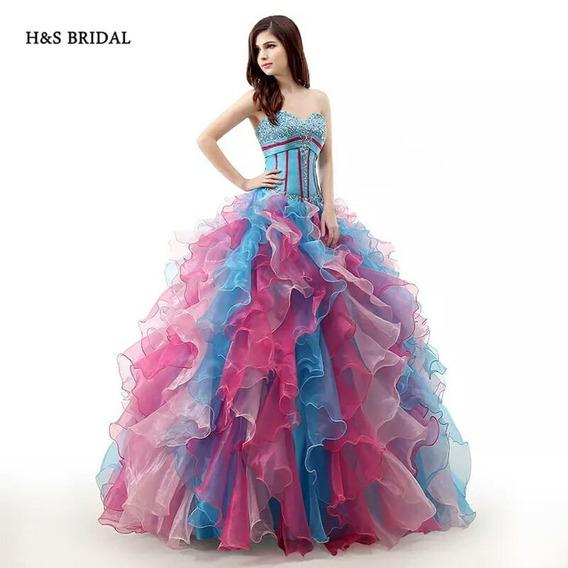 Hermoso Vestido De Quinceaños De Dos Diferentes Colores