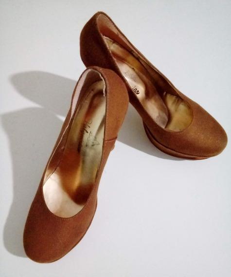 Zapatos Stilettos Taco Alto Gamuza Nº37