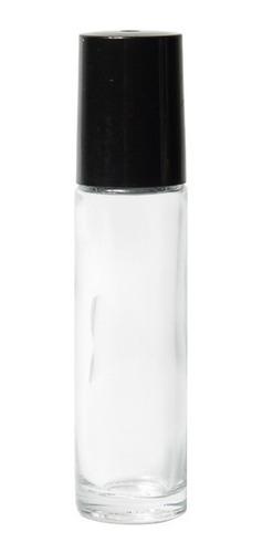 Envase Roll On 10 Ml Transparente Tapa Negra