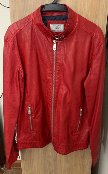 Jaqueta Couro Zara Original Zara Man Vermelha Xg Xl 50% Off