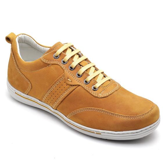 Sapato Sapatênis Masculino Casual Couro Mostarda Ranster3011