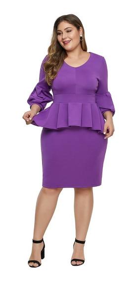 Vestidos Tallas Extras Tipo Peplum Color Morado Moda Curvy