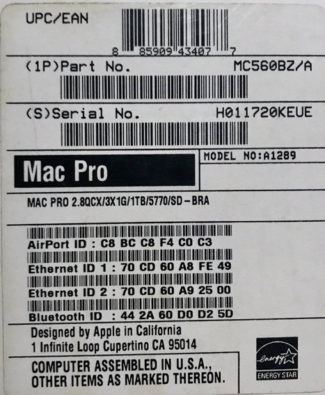 Mac Pro Apple Mc560bz/a 5.1 Xeon Quad Core 2.8ghz, 6gb, 1tb