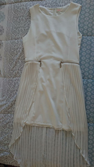 Vestido Elegante Blanco Cola De Sirena Plizado Talla G Stop