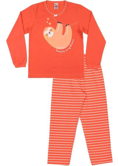 Pijama Infantil Menina Meia Malha Longo Inverno Sleeping