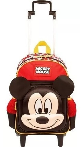 Mochila Escolar Infantil Mickey Mouse Alto Relevo Rodinhas 19y Sestini M