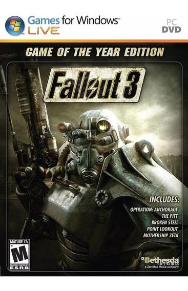 Fallout 3 Goty Edition Pc Steam Key,deslacrado Sem Uso!!!!!!