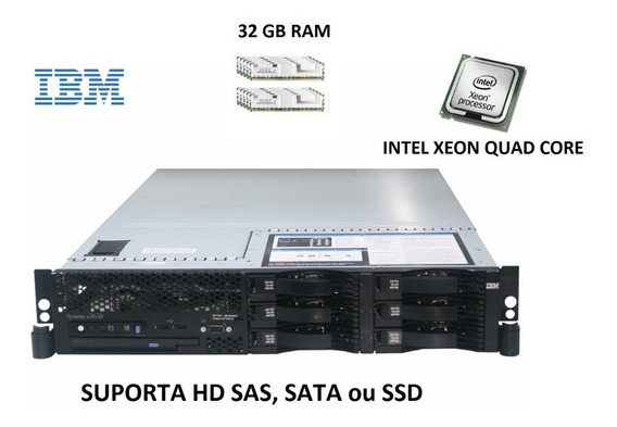 Servidor Ibm X3650 1 Intel Quad-core 16gb Ram, Ssd/sata/sas