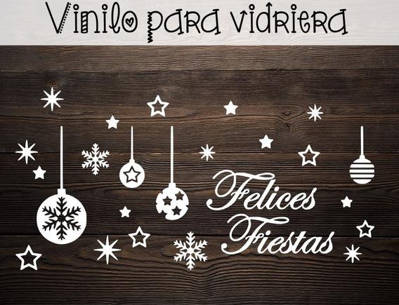 Vinilo Navidad Vidriera Paredes Grande Frase Felices Fiestas
