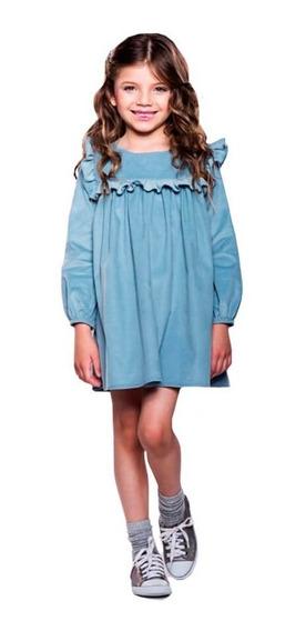 Vestido Infantil De Veludo Azul Jardim