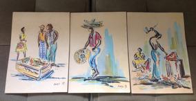 Série 3 Desenhos Em Aquarela, Borys, 79, Assinados