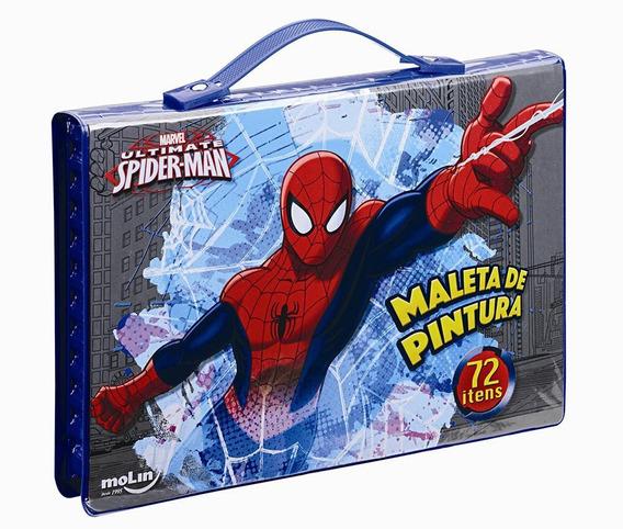 Maleta De Pintura Molin Spiderman Com 72 Peças Sortida