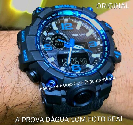 Relógio Original Skmei 1155 Pova Dágua Digital Preto & Azul