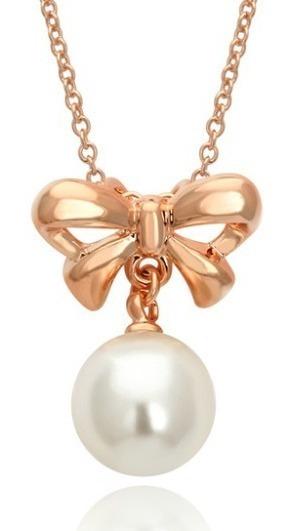 Collar Moño Y Perla De Oro Con Aretes Envio Gratis