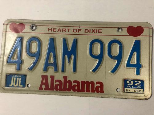 Placa Americana Colección O Decoración Alabama Original