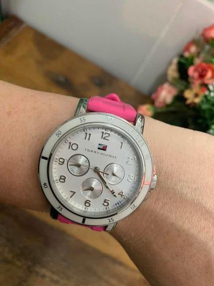 Relógio Tommy Hilfiger Caixa Branca E Pulseira Rosa