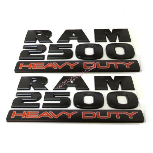Imagen 1 de 5 de 2 X Oem Mate Negro Dodge Ram 2500 Heavy Duty Emblema Insigni