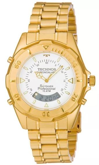 Relógio Technos Masculino Skydiver Dourado T20557/49b