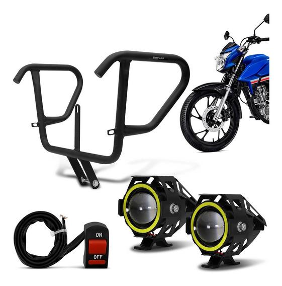 Protetor De Carenagem + Kit Farol De Milha Led Honda Cg 160