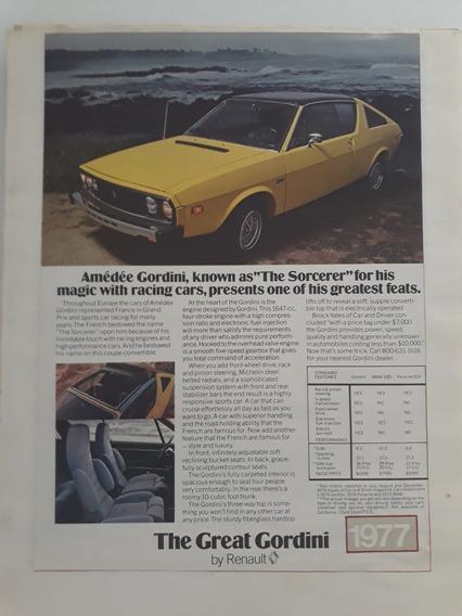 Propaganda Publicidade Anúncio Renault Gordini 1977 Coleção