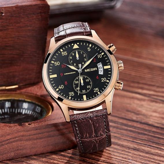 Relógio Megir 2021 Masculino Cronografo Pulseira De Couro