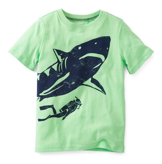 Blusa Camisa Carters Menino Verde Tubarão 12 Ou 24 Meses