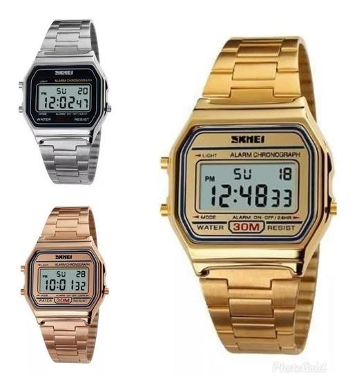 Relógio De Pulso Feminino Skmei 1123 Digital Retro Garantia
