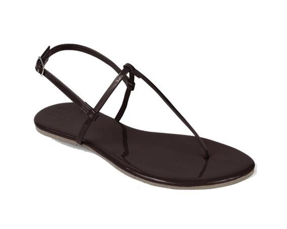 Sandália Flat Mercedita Shoes Verniz Ultra Macia Marrom