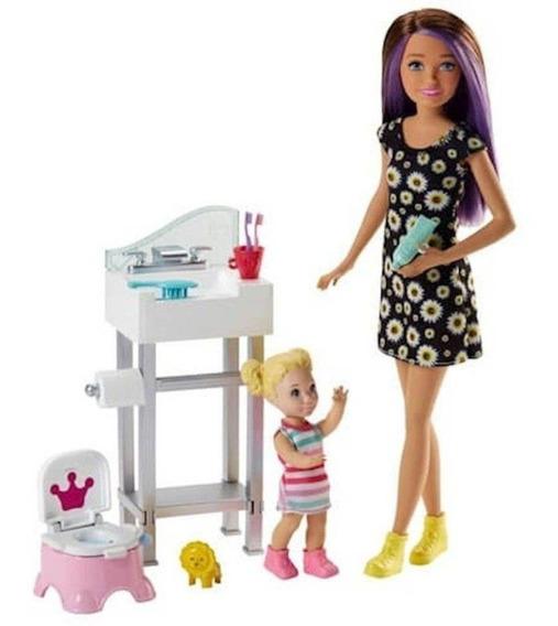 Nova Barbie Skipper Baby Sitters Babá Com Banheiro Mattel