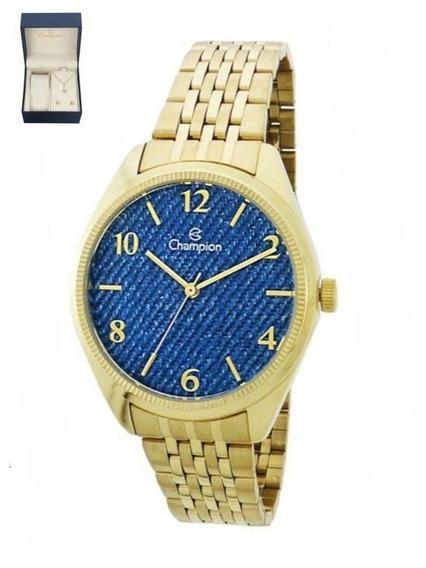 Kit De Relógio Champion Analógico Feminino Cn25172k Dourado
