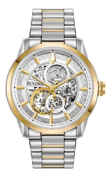 Relógio Bulova Masculino Automático 98a214 Esqueleto Misto