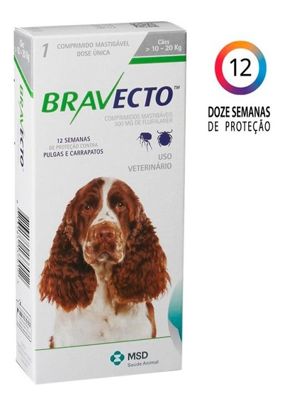 Bravecto 10 A 20 Kg - 500mg Cães