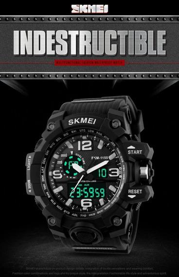 Novo Relógio Militar Skmei 1155 S-shock Digital + Analógico