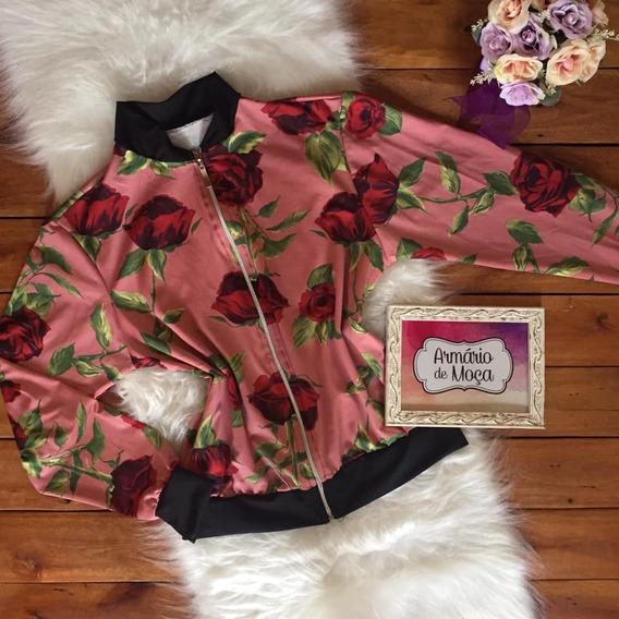 Jaqueta Bomber Estampada Animal Print Floral Casaco Frio
