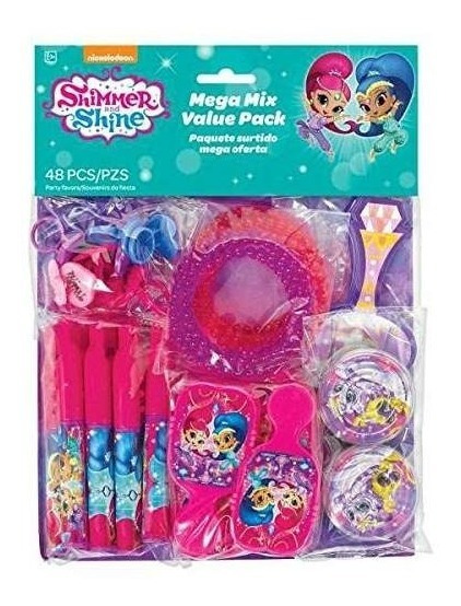 Shimmer And Shine Favor Pack 48 Piezas (suficiente Para 8 In