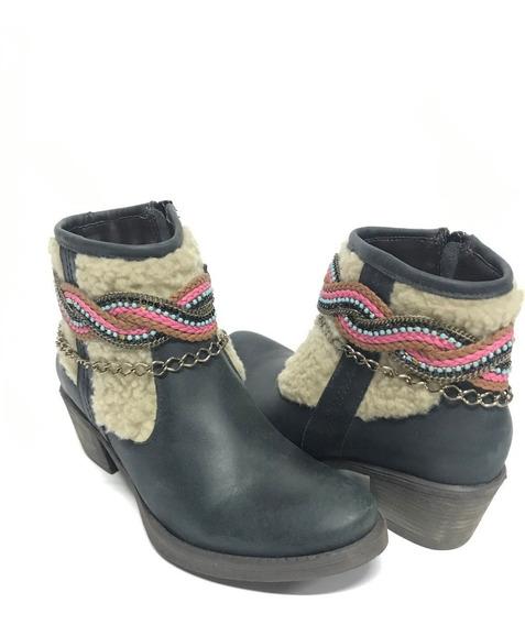 Bota Country Feminina Vimar Cano Curto Preta Com Lã E Brilho 100% Couro - Super Confortável Modelo Único E Exclusivo!