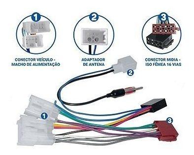Kit Facil Chicote E Antena Dedicado Linha Toyota Fac 014