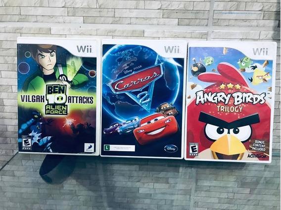 Kit 3 Jogo Nintendo Wii Ben 10 Alien F, Angry Birds E Carros