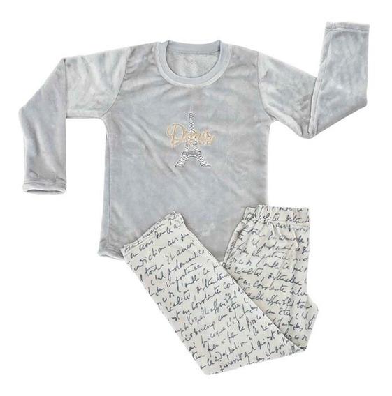 Pijama Mediana Para Niña Letras Gris Vianney