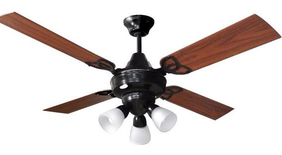 Ventilador Techo Martin & Martin Ocean Negro Con Luz Araña Bombe X3, Palas Madera O Metal, Motor Potenciado, Garantia