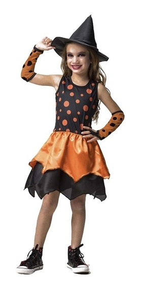 Roupa De Halloween Infantil Menina Bruxa Sabrina Com Luvas