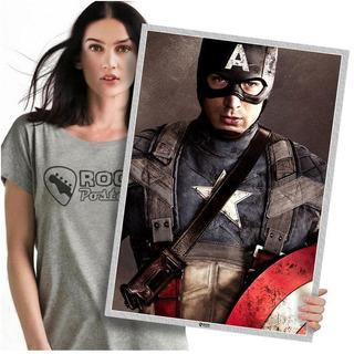 Heróis Da Marvel Capitão América Poster Grande 60x42cm 03