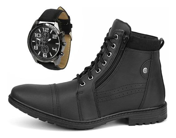 Bota Masculina Sapato Coturno Casual Com Zíper + Relógio