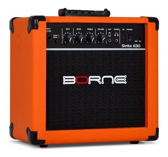 Caixa Amplificador Cubo Guitarra Borne Strike G30 - Laranja