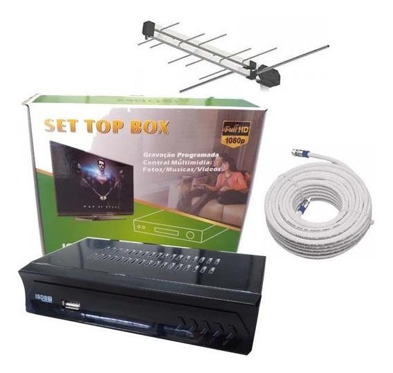Kit Conversor Digital Com Antena Externa E 15 Mts De Cabo