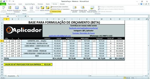 Planilha Orçamento Fácil - Aplicação De Adesivos