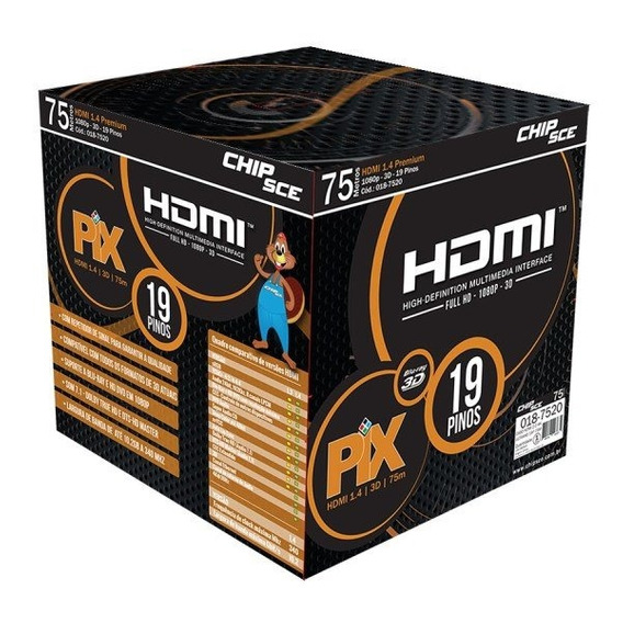 Cabo Hdmi Gold 1.4 3d Full Hd 19p 75m Com Filtro Chip-sc