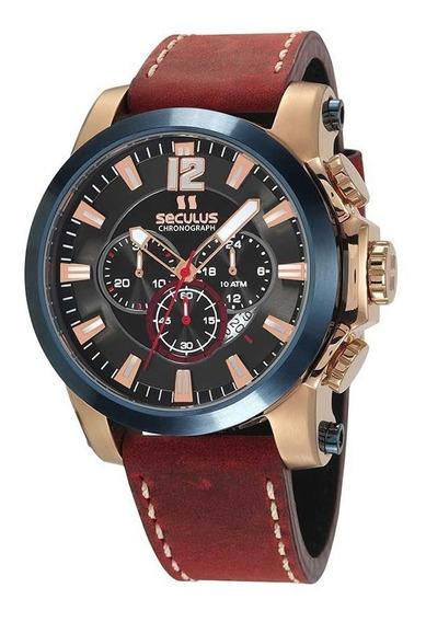 Relógio Cronógrafo Seculus Pulseira Couro 13027gpsvdc1 Rosé