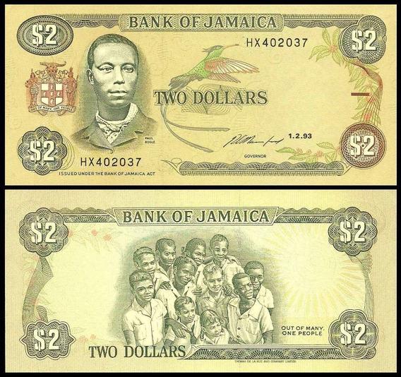 Jamaica P-69e Fe 2 Dollars 1993 * C O L *