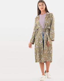 Kimono Midi Verde Olivdo Estamapado Floral